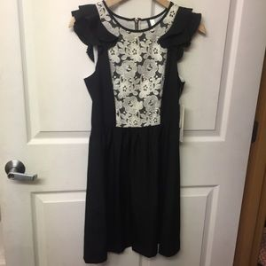 Kensie black dress with white linen lace bib XS